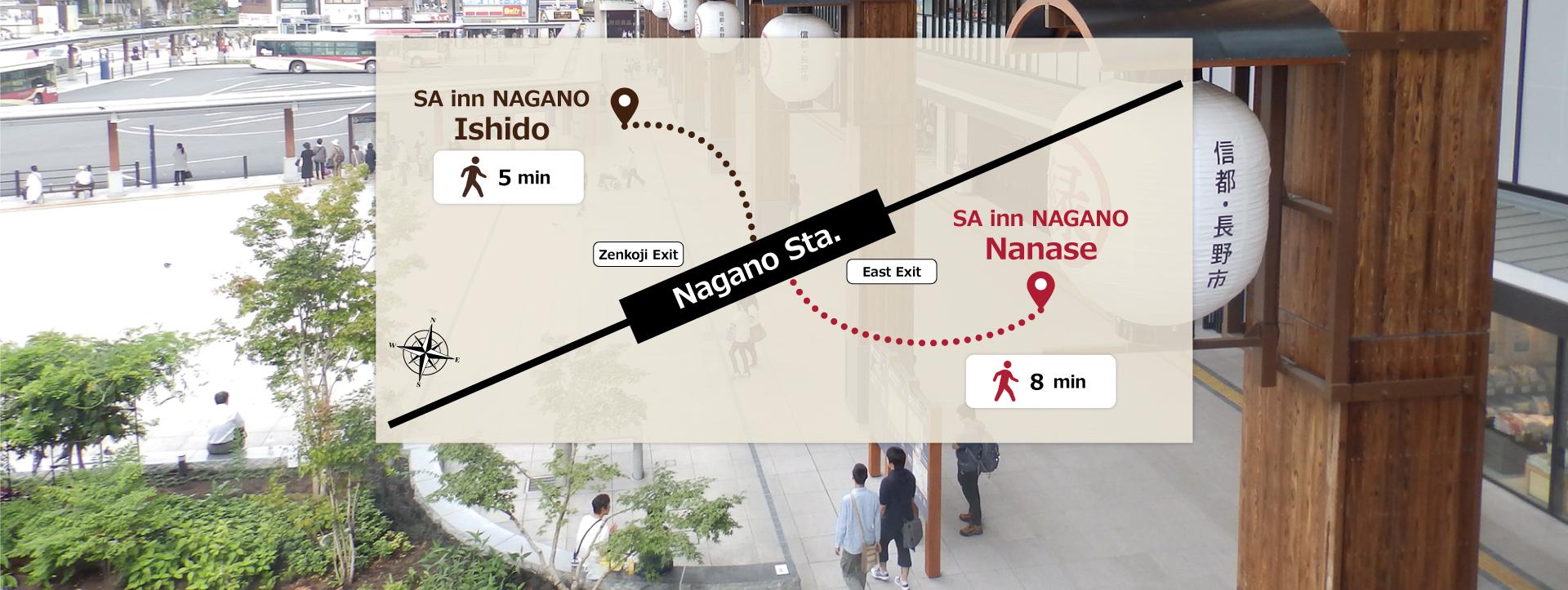 From Nagano-Staion To SA Inn Hotel