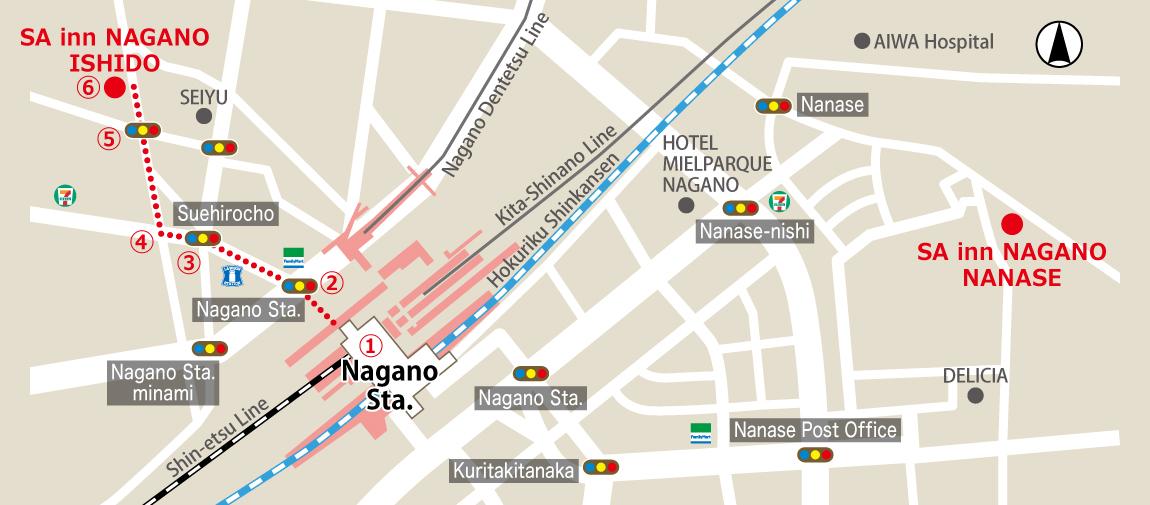 Route to SA Inn Nagano-Ishido